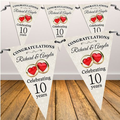 Personalised Wedding Anniversary Flag Bunting Banner - N10 Any Year 1st 2nd 3rd 5th 10th